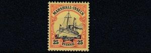 MARSHALL  ISLANDS 1901   S G  G15   25PF  BLACK RED YELLOW    MNH
