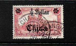 GERMAN  PO CHINA  1905  1/2 DOLLAR on 1m   CARMINE   FU   SG 42