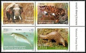Nepal 762 Block of 4, MNH. Mammals: Dolphin, Pangolin, Elephant, Leopard, 2005