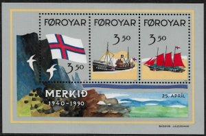 Faroe Is #207 MNH S/Sheet - Flag - Ships
