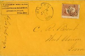US Stamps Cover # 65 Rare Usage 1867 Welton Man