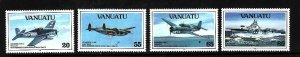 Vanuatu-Sc#590-3-Unused NH set-WWII-Planes-Ships-1993-please note there is a  sp