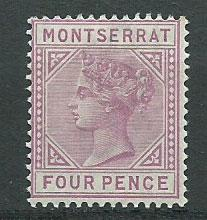 Montserrat SG 12 Mint Very Light Hinge perf 14