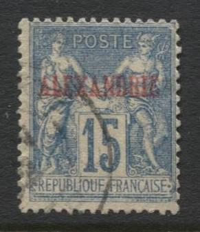 French Alexandrie-Scott 7-Overprint Nav & Commerce-1899- Used -Single  15c Stamp