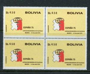 BOLIVIA SCOTT# 564 CEFILCO# 924 ESPANA 75 EXHIBITION BLOCK OF 4 MNH AS SHOWN