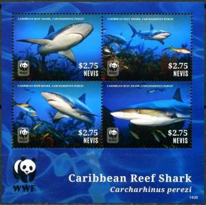 Nevis 2014 Caribbean Reef Shark marine life WWF collective s/s MNH