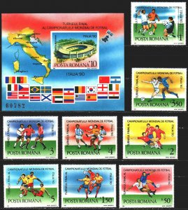 Romania. 1990. 4594-4601, bl262. Football, World Cup in Italy. MNH.