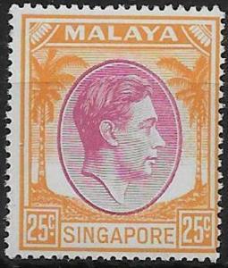 SINGAPORE SG25 1950 25c PURPLE & ORANGE MTD MINT