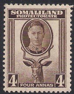 Somaliland 1942 KGV1 4 Annas Sepia MM SG 109 ( K578 )