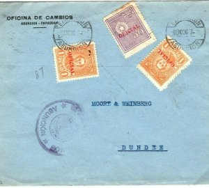 PARAGUAY Official Cover 2.50 Peso Rate Asuncion 1936{samwells-covers}SV17