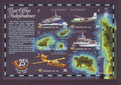Guernsey Sc 540a 1994 25 Years Post Office stamp sheet mint NH