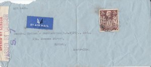 GB166) GB 1939 2/6d Brown on early 1940 Censored Airmail Cover to Sydney