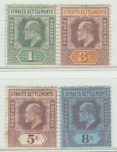 MALAYA Straits Settlements 1902 KE VII 4V Mint LH wmk CA SG #110-114 M1396