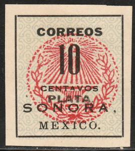 MEXICO 411, 10c SONORA PLATA ANVYL SEAL. UNUSED, NO GUM, (AS ISSUED) HINGE F-VF.
