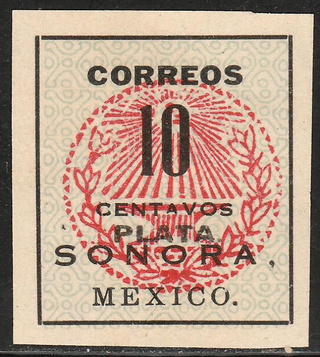 MEXICO 411, 10¢ SONORA ANVIL SEAL WITH PLATA OVPT. UNUSED, NG (AS ISSUED) VF.