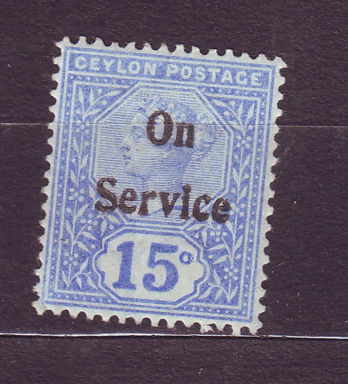 J23619 JLstamps 1895-1900 ceylon mlh #o14 queen ovpt see details