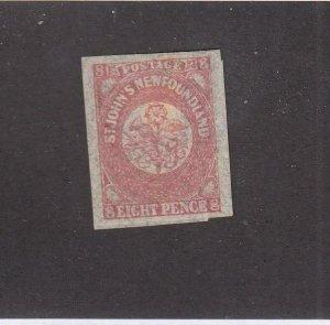NEWFOUNDLAND (MK6792) # 22  VF-MH  8p  1861-62 ST JOHN'S IMPERF /ROSE CAT $120