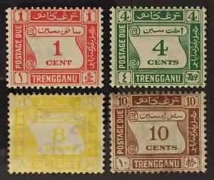 Malaya 1937 Trengganu Postage Due 4V set  MLH NG SG#D1-D4 M2206