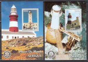 Benin, 2003 Cinderella issue. African Lighthouses on 2 s/sheets.