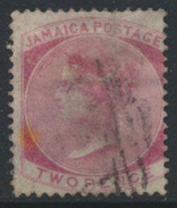 Jamaica SG 9a Used tone spot SC# 8a deep Rose wmk CC see details