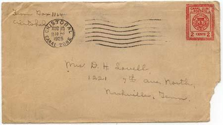 Canal Zone - 1925 Postal Stationary Envelope Cristobal to US
