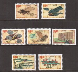 Cambodia   #797-803    MNH  1987  early aircraft designs