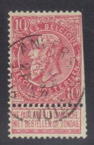 BELGIUM SC# 66 **USED** 10c  1893-1900    SEE SCAN