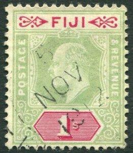 FIJI-1909 1/- Green & Carmine Sg 117 faded AVERAGE USED V33044