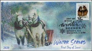 20-249, 2020, Winter Scenes, FDC, Pictorial Postmark, Horses
