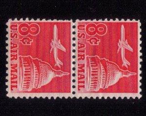 US Sc #C64 Unused,Mint,No Gum Horz.Pair 8c Airmail F-VF (1962):