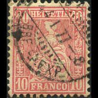 SWITZERLAND 1881 - Scott# 62 Helvetia 10c Used