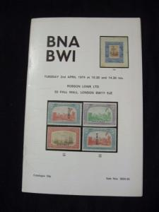 ROBSON LOWE AUCTION CATALOGUE 1974 BNA BWI