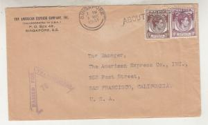 STRAITS SETTLEMENTS, 1941 censored cover to USA, KGVI 5c. Brown & 10c. Purple.