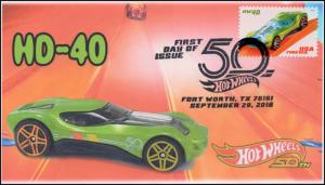 18-283, 2018, Hot Wheels, Pictorial, Postmark, First Day Cover, HD-40