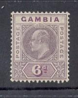 Gambia Sc 53 1909 6d dull violet Edward VII stamp mint