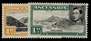 ASCENSION GVI SG39c + 39d, 1d COLOUR & PERF VAREITIES, M MINT.