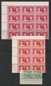 Niue x 3 KGVI era plate blocks