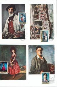63717 - SPAIN - POSTAL HISTORY: Set of 8  MAXIMUM CARD 1971 -  ART