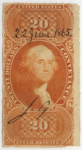 0904 U.S. revenue Scott R98a, $20 Conveyance imperforate, 1865 manuscript cancel