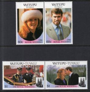 Tuvalu Vaitupu 65-66 Royal Wedding MNH VF