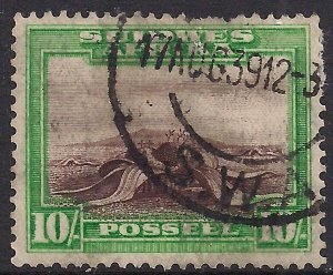 South West Africa 1931 KGV 10/-d Welwitchia Plant Afrikaan used SG 84 ( J1412 )