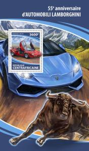 Central African Rep Cars Stamps 2018 MNH Lamborghini Countach 1v S/S