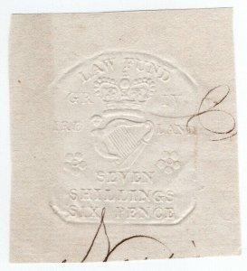 (I.B) George IV Revenue : Ireland Law Fund 7/6d (impressed duty)