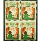 1923 CHRISTMAS SEALS BLOCK OF 4 MINT NEVER HINGED GEMS !! GREAT FIND !!