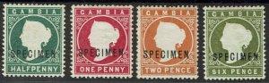 GAMBIA 1886 QV CAMEO SPECIMEN SET WMK CROWN CA