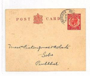 AJ90 1929 GB WALES *Abersoch* CDS Postal Stationery KGV Postcard