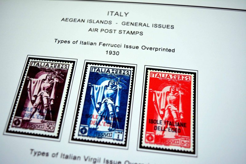 COLOR PRINTED AEGEAN ISLANDS 1912-1940 STAMP ALBUM PAGES (10 illustrated pages)