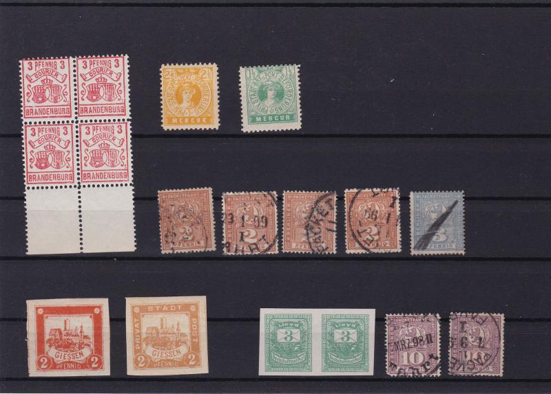 german stadt post privat post brandenburg giessen berlin  stamps ref r14083