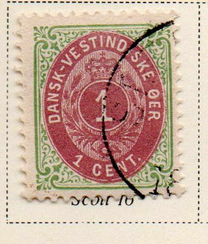 Danish West Indies Sc 16 1898 1c green & red violet stamp used