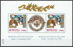 RM175 2002 ROMANIA BIRDS INVITED TO JOIN NATO !! SILVER BL325 MICHEL 25 EURO MNH
